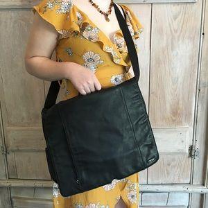 Tumi Black Soft Leather Messenger Bag Crossbody
